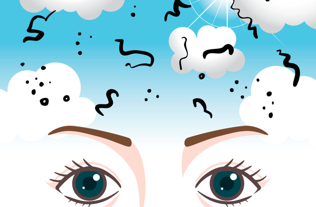 Illustration of eye floaters shown through dust floating through field of vision.
